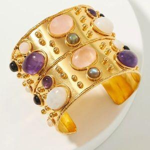 NWT - Anthropologie Crystal Bangle Bracelet Gold